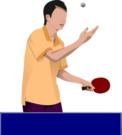 Ping pong player  silhouette Stock Vector - 12319665