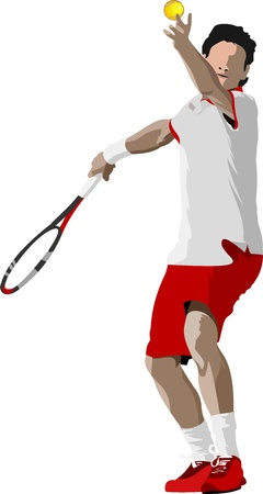 tennis: Le joueur de tennis. Illustration couleur pour les concepteurs