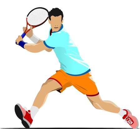 tennis serve: Tennis player. Colored  illustration for designers