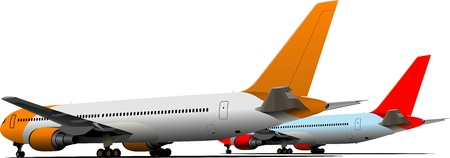 airplane mode: Airplane on the airfield.  illustration
