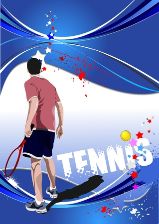 the court: Tennis player poster. Colored illustration for designers Illustration