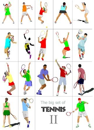 serve: Big cet # II of tennis players. Colored  illustration for designers Illustration