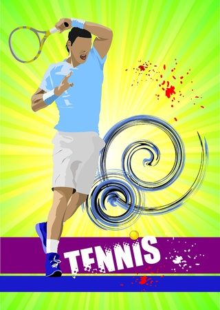 tennis serve: Tennis player poster  Colored for designers
