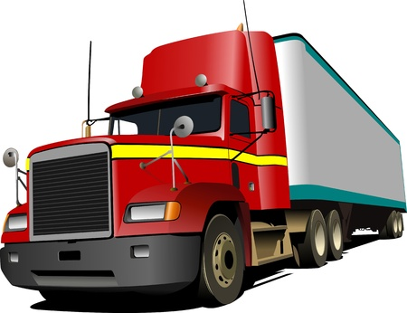 truck on highway:  illustration of red truck  Lorry