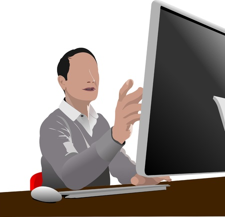 typing on laptop: Handsome man sitting in front of computer