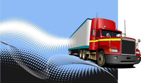 Blue abstract background with truck image  Vector