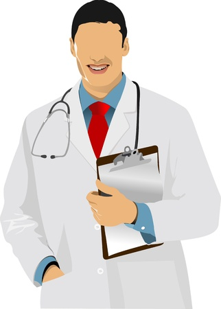 doctors and patient: Medical doctor with stethoscope   Illustration