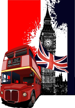 Grunge banner with London and bus images  Illustration