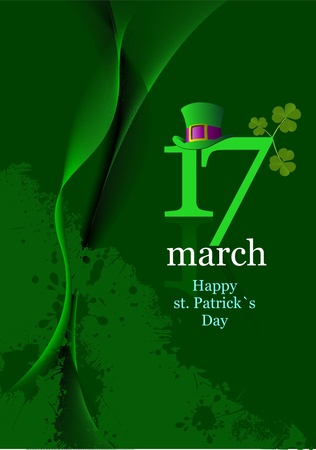 of green hats and shamrocks for St  Patrick Vector