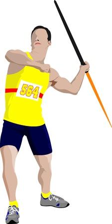 lanzamiento de jabalina: El atletismo masculino lanzador de jabalina en el fondo blanco