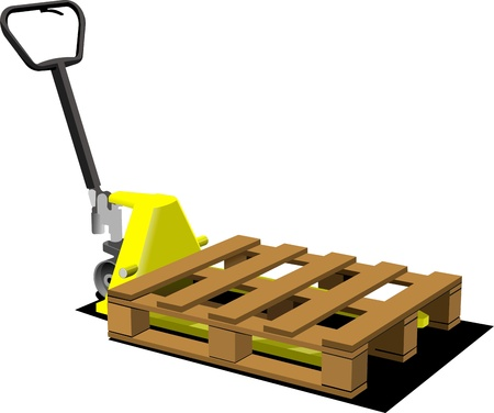 warehouse interior: Hand yellow pallet truck  Forklift