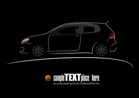 White silhouette of car on black background Vector