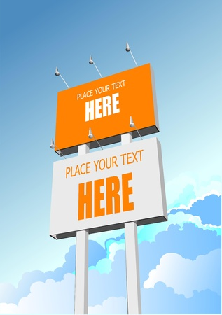 Big billboard publicity over blue sky Vector
