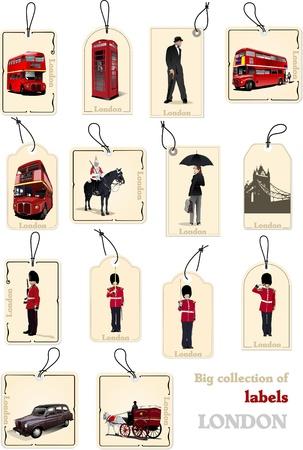 Große Sammlung von London Bild-Etiketten