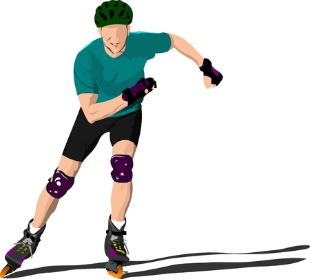 complacent: Roller skater illustration silhouette on a white background