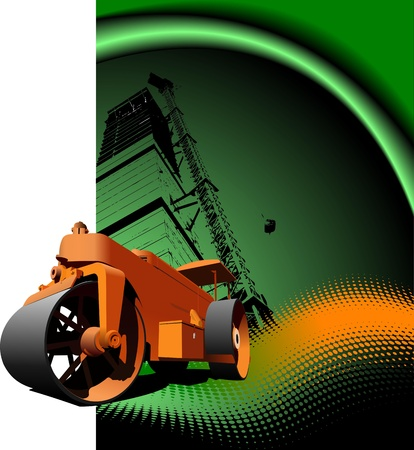 heavy machinery: Road asphalt roller on green background