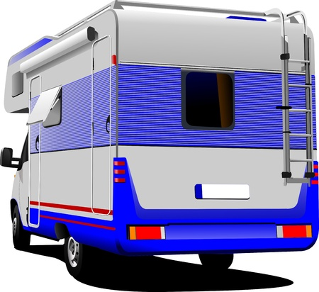 motor home: Isolated camper van on white background