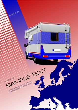 Cover for brochure or template with Europe silhouette and camper van image Stock Vector - 12812249