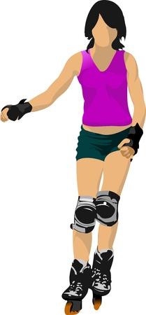 patinar: Patinador ilustración silueta sobre un fondo blanco