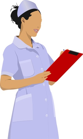 Nurse woman with white doctor`s smock Vector