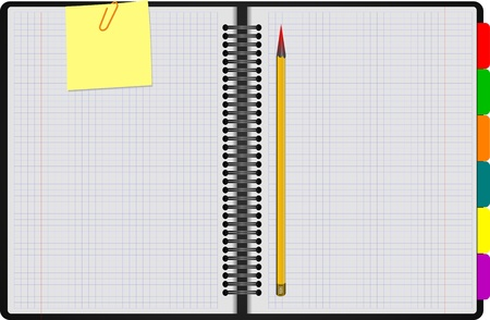 Black Notebook open on white background with clipped yellow none and yellow pencil Stock Vector - 12812237