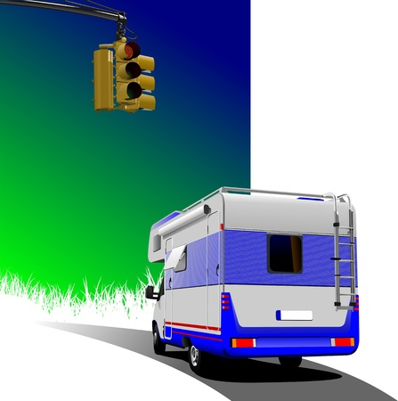 Camper van on country background with traffic light image Vector