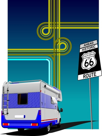Cover for brochure  with camper van and junction image. Route 66 Vector