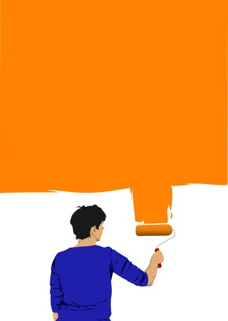 Woman paints the wall brush Vector
