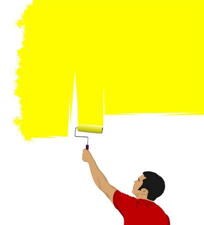Young man paints the wall brush Vector
