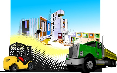 Building site with lorry (truck) and forklift images. illustration Vector