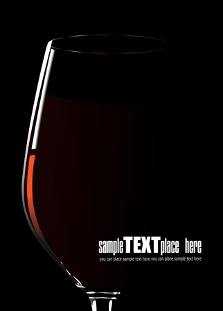Glass of red wine illustration on white background Çizim