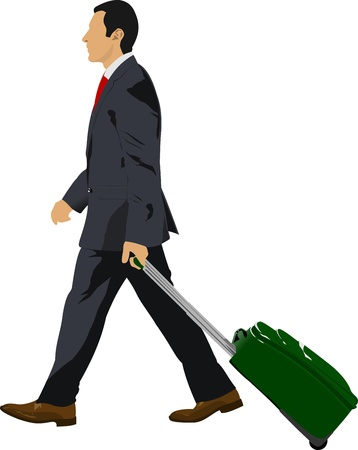 Business man with suitcase illustration Vector