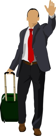 Business man with suitcase illustration Stock Vector - 13057123