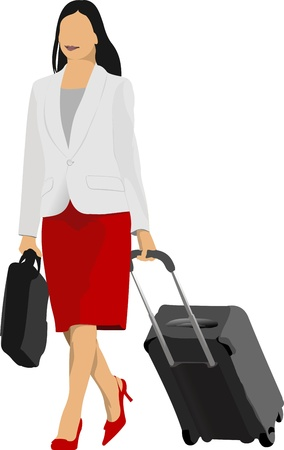 Business woman with suitcase illustration Vector