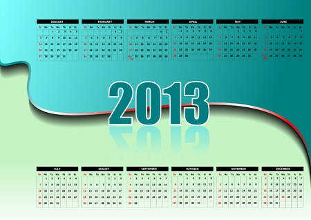 Calendrier 2013 avec jours f�ri�s am�ricains. Mois. illustration Banque d'images - 13057114