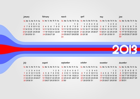 Calendar 2013 with American holidays. Months. illustration Vector