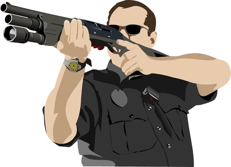 Armed policeman preparing to shoot with automatic rifle illustration Vector