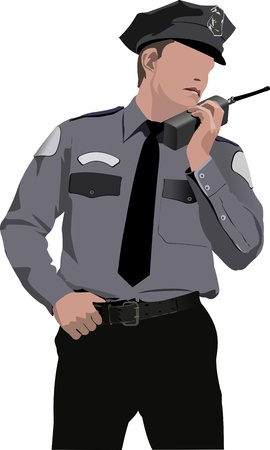 Policeman communicate by walkie-talkie radio illustration Vector