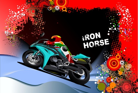 Natural  background with motorcycle image. Iron horse.  illustration