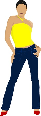 Young girl in yellow shirt. Colored Vector illustration Stock Vector - 14829475