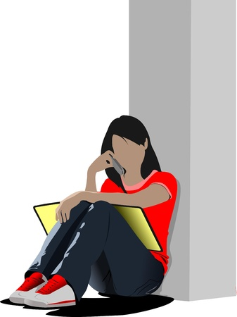 Schoolgirl sitting and reading. Back to school. Vector illustration Vector