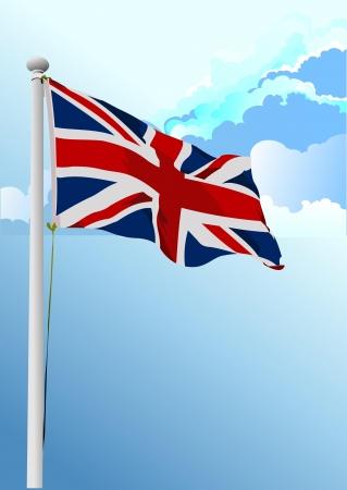 stylish waving United Kingdom flag  Vector