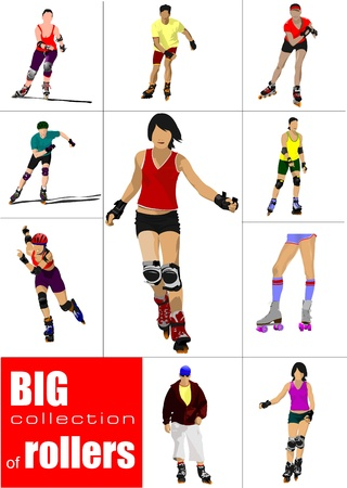 Big collection of Roller skater silhouettes on a white background Stock Vector - 14829587