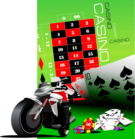 Casino elements with sport motorcycle image. Vector illustration Vector
