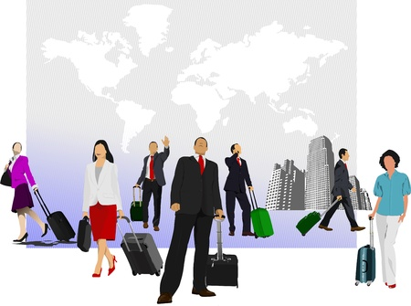 Business man with suitcase on world map background.