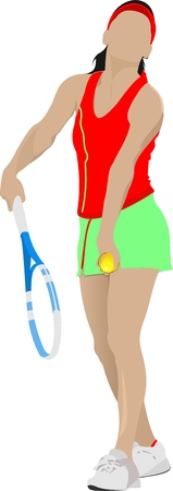 Woman Tennis player.  Vector