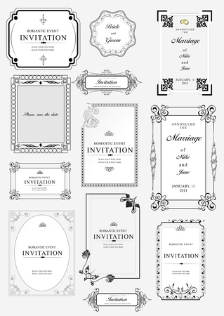 letterpress: Set of ornate vector frames and ornaments with sample text. Perfect as invitation or announcement. All pieces are separate
