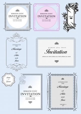 Set of ornate vector frames and ornaments with sample text. Perfect as invitation or announcement. All pieces are separate