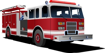 teherautók: Tűzoltóautó létra elszigetelt háttér. Vektoros illusztráció