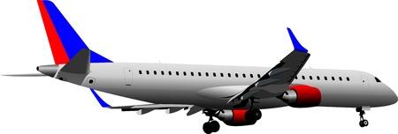 landing light: Airplane on the air. Illustration